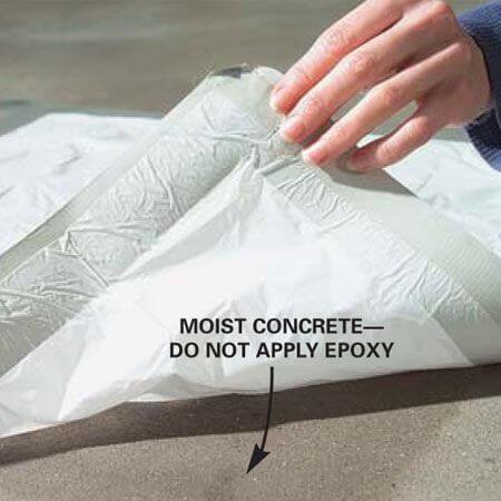 Do not apply garage floor coating on moist concrete